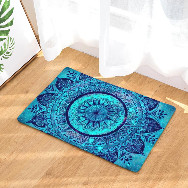 Flannel floor mats round wreath printed bedroom living room carpets cartoon pattern mat for hallway anti slip tapete us277