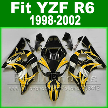 Hot sales  body kits for YAMAHA R6 fairing 1998 1999 2000 2001 2002 yellow and black  Fit  YZF R6 fairings 1998-2002