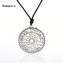 Dawapara Viking Sun Runes Circle Amulet Pendant Necklace Jewellery with Silver & Gold Tone To Choose fashion jewelry Black Cord(China)
