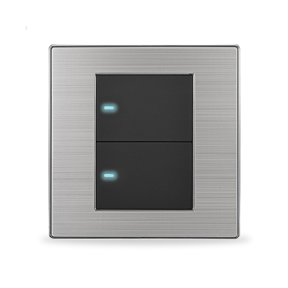 UK 2 gang 1 Way Luxury LED Light Switch Push Button Wall Switches Satin Metal 10A AC 110~250<br>