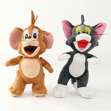 2pcs/lot 25cm Cat Tom and Jerry Mouse Plush Stuffed Toys Doll Soft Cartoon Animals Toy Gifts for Kids Children Christmas