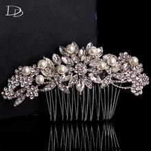 Wedding Accessories Bride Clip Hair Pin Comb bijouretie Jewelry Bridal Hair Simulated Pearl Tiara crystal Embroidery Gift A08