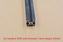 Black 3030 aluminum extrusion profile european standard length 250mm wall thickness 1.8mm aluminum profile workbench 1pcs