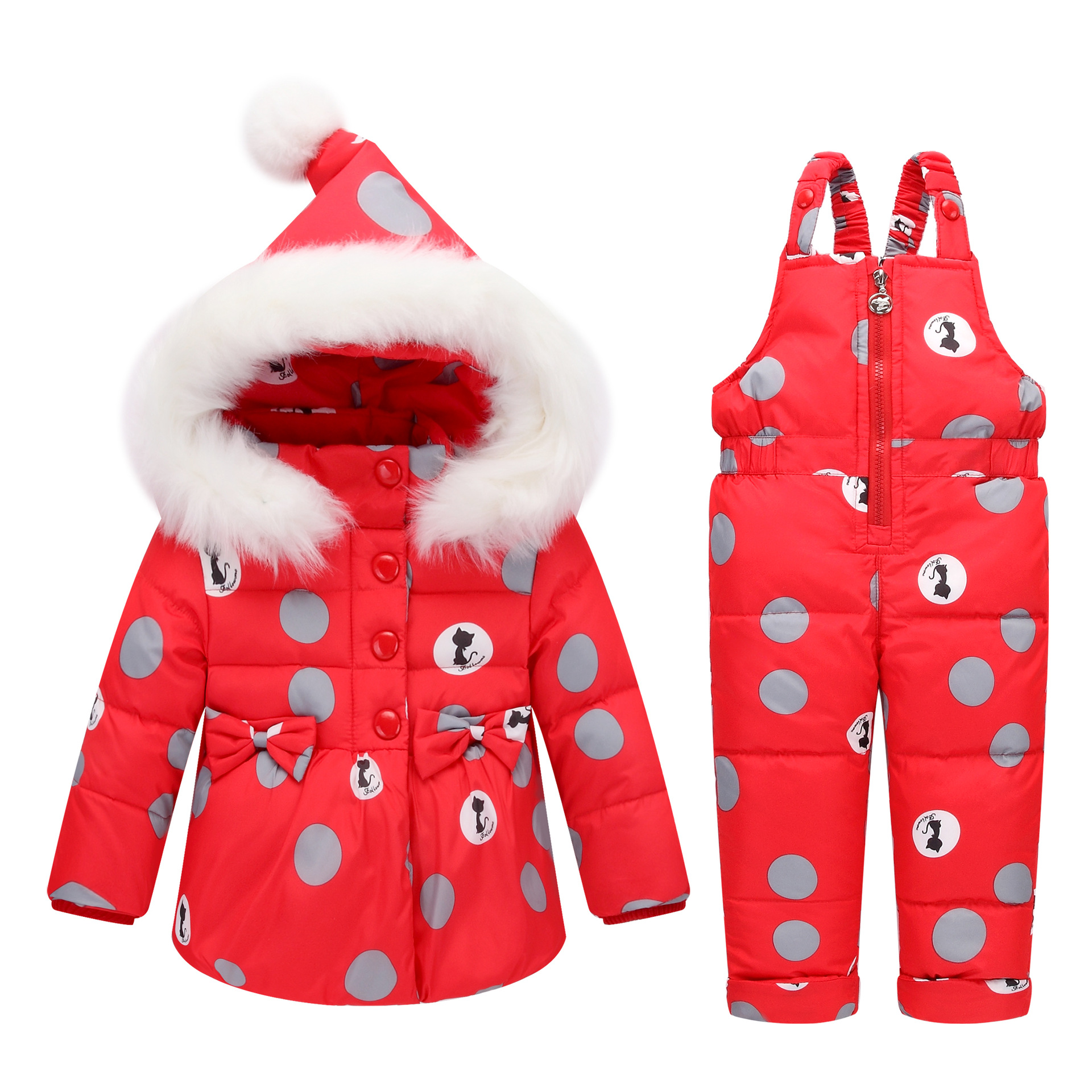 Children Clothing Sets Girls Winter Hooded Duck Down Jacket + Trousers Waterproof Snowsuit Warm Kids Baby ClothesÎäåæäà è àêñåññóàðû<br><br>