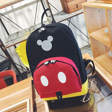 Mickey Canvas Shoulder Backpack Student Casual Bags Kids Travel Bags Mochila Feminina Bags High capacity backpacks(China)