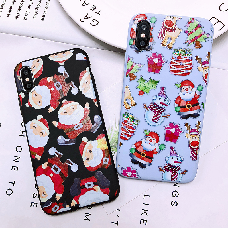 Phone Case For iPhone 7 5 S 5S SE 6 6s 7 8 Plus X XR XS Max Fashion Cute Cartoon Christmas Lovely Santa Claus Elk Soft TPU Cover (23)