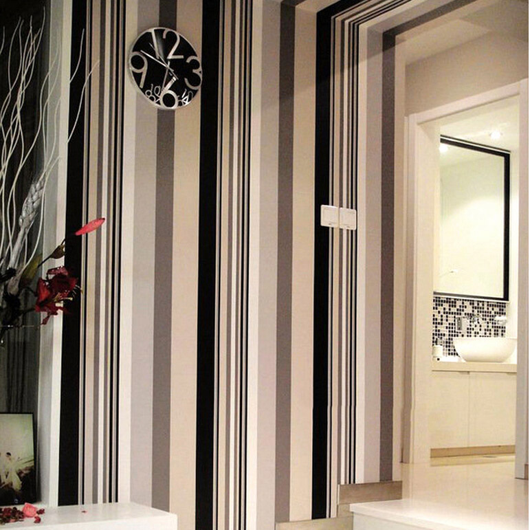 black and white striped pvc wallpapers for waterproof and washable finish for cheap 10m wallpaper roll<br>