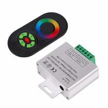 LED RGB Controller DC12V 24V RF Controler Wireless LED Dimmer Brightness Adjust Touch Screen Remote For 5050 RGB LED Strip Tape(China)