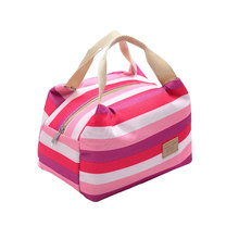 Fashion Stripe Canvas Mini Cooler Bag 1 Person Small Portable Insulated Lunch Bag(China)