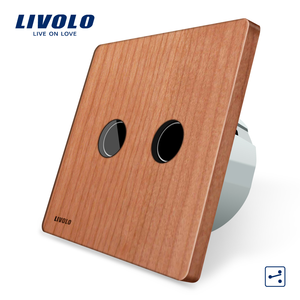 Livolo Wholly Original, EU Standard Touch Switch, 2 Gang 2 Way Control, AC 220-250V VL-C702S-21, With Wood-log<br>