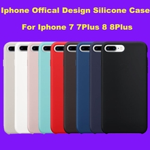 For iPhone 8 7 Plus 1:1 Original Copy  Silicone Case Official Design Slim Lightweight Capa Silicon Phone Bag with logo Cover