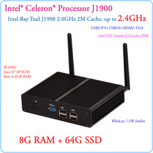 Fanless Small PC intel Celeron J1900 Quad Core 2.41GHz Baytrail Android Mini PC Server Win7 8G RAM 64G SSD Commercial Computer