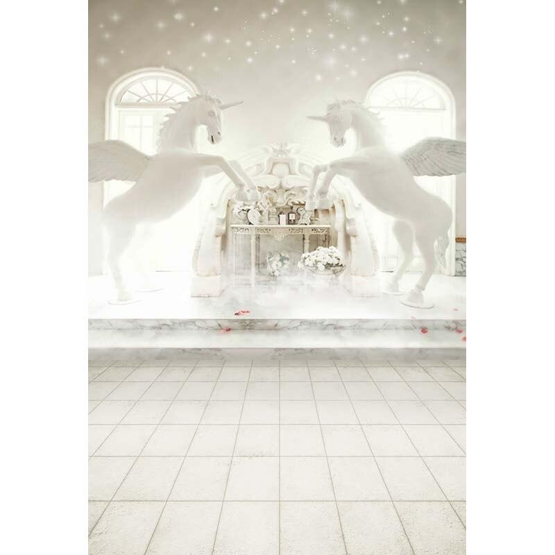 Customize vinyl cloth print 3 D unicorn heaven photo studio backgrounds for wedding portrait photography backdrops CM-5860<br>