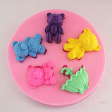 New Valentine teddy bear love me fondant cake molds soap chocolate mould for the kitchen baking cake tool FM292