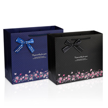 Hot sale fashion romantics dark blue black gift box bag portable suitable for business party wine thankgiving wedding clothing