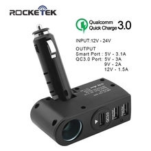 Rocketek car charger Smart IC 3.1A Quick QC 3.0 USB phone Charger Adapter 1 Socket Car Cigarette Lighter Splitter car-charger(China)