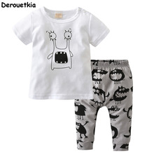 New 2017 fashion baby boy clothes cotton cartoon short-sleeved t-shirt+pants infant clothes 2pcs suit baby girl clothing sets(China)