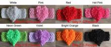 "Free Shipping 40pcs 2.5"" Chiffon Rose Heart Flower With Elastic Crochet Headband for Girls Hair Accesories,Kids Headband Flowers"