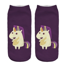Happy Punk Unicorn Socks 3D Graphic Full Printing Purple Socks Low Cut Ankle Socks For Girls