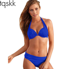 TQSKK 2017 Sexy Bikinis Women Swimsuit Push Up Bikini Set Beach Wear Retro Vintage Bathing Suits Halter Top Plus Size Swimwear(China)
