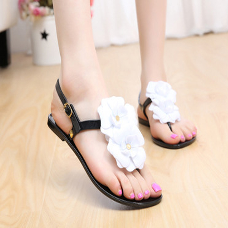 2017 New Summer Tidal current T type Flat heel  Woman Sandals Jelly flower flip flops Crystal pinch toe women shoes ST61<br><br>Aliexpress