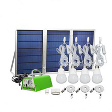 Hot New 30W Solar Outdoor Lighting System Photovoltaic Power Generation Eemergency Charging Mobile Phone + 4LED Bulbs + 3Panels