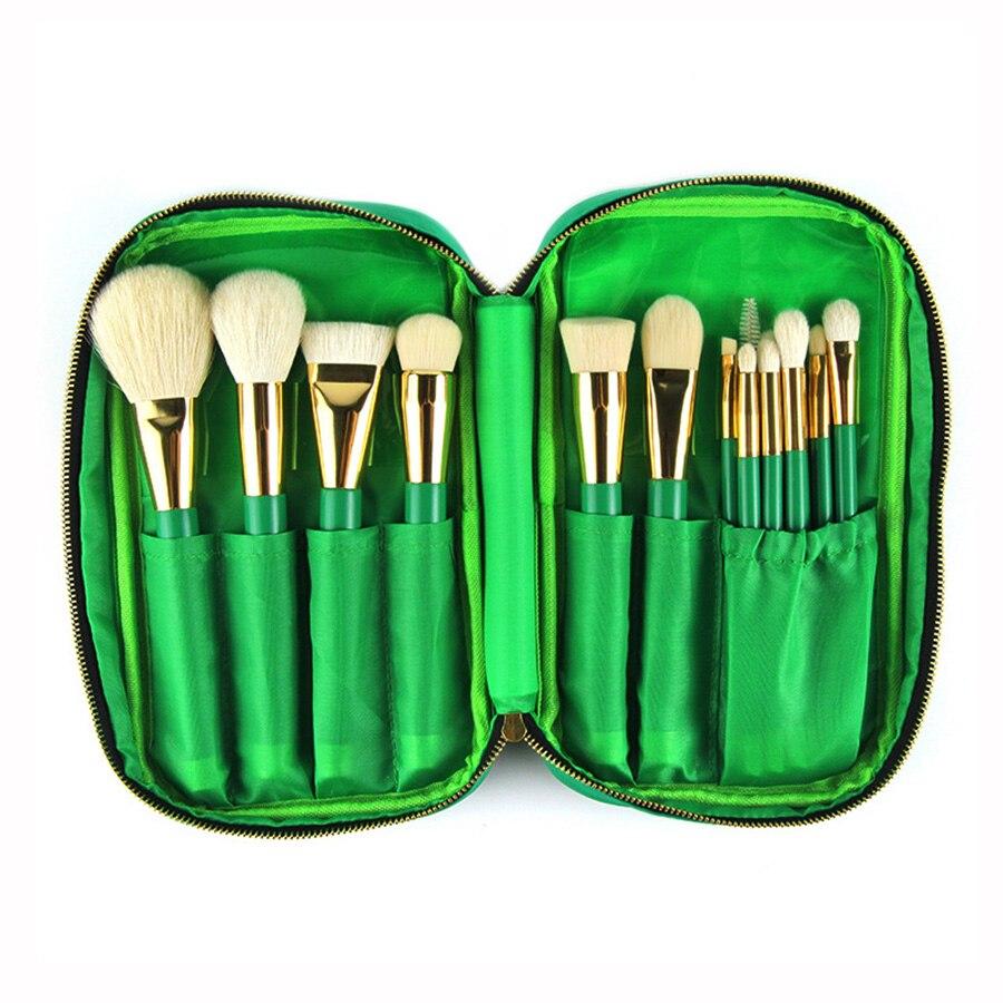 15pcs Makeup Brushes Green Makeup Brush Set with Bag Goat Hair Foundation Powder Blush Eyeshadow Make Up Brushes <br>