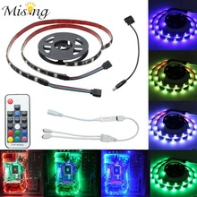 Mising 2 PCS 50CM 30 LED 5050 SMD RGB LED Strip Light 12V DC With 17 Key RF Wireless Remote For PC Computer Case