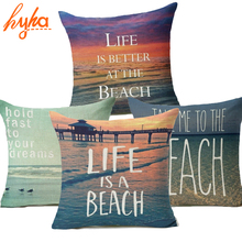 2017 Real Capa De Almofada Decorative Pillows Sea Marine Style BEACH Cushion Cover Passionate Printed Sofa Throw Pillow Case(China)