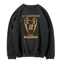 2017 real 100% cotton Champions League Winners 12 shirts Long Sleeve Hoodies Sweatshirt Man casual for madrid fans Hoodie