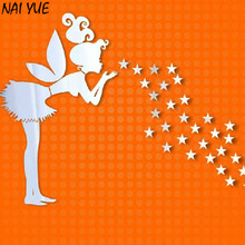 NAI YUE 1Set Cute Silver Removable DIY 3D Home Modern Decor Mirror Fairy Stars Wall Stickers Hot Product(China)