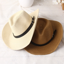2017 New Fashion Sun Hat For man Men's Summer Paper Straw Hats Cowboy Style Beach Headwear 5 Colors Cowboy Hat Quality Wholesale