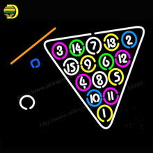 2017 Neon Sign Billiard Hand Neon Light Glass Arcade Game Room neon signs Cool Lamp Affiche advertise handcraft Bright 24x31