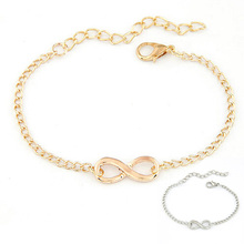 2017 Unique Design Chain Bracelets Wholesale Hot Charm Women Men Handmade Gift 8 Shape Jewelry Infinity Bracelets Gold/Silver
