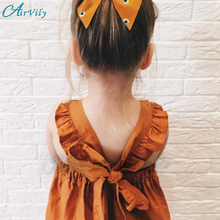 2017 Rushed Real A-line Casual Bow Kids Dresses Summer Girl Clothes Ins Girls Pumpkin Color Vest Dress Backless Party Children