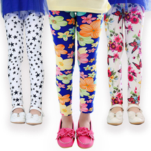 Girl Skinny Pants New Arrive Floral Printing Flower Girls Leggings Toddler Elastic Trousers Leggings 2-14Y Baby Kids Legging(China)