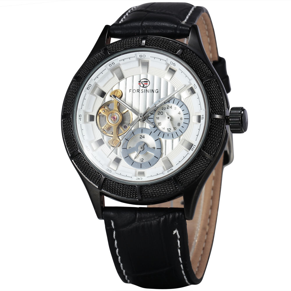 Mens Automatic Mechanical Wristwatches Tourbillon 24-hour Sub-dial Design WINNER Top Brand Luxury Men Watches Gifts + BOX<br>