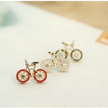 New Arrival Fashion Vintage Jewelry for woman Cute Bike Design Love Bicycle stud Earrings 4ED146(China)