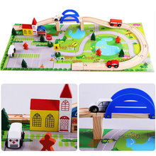 40PCS Wooden Children Traffic Rail Cars Toy Disassembling Combination Track Intersection Baby Educational Toy