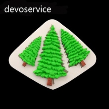 Christmas Tree DIY Cake Border Silicone Mold Fondant Cake Decorating Tools Candy Cupcake Chocolate Gumpaste Baking Moulds(China)
