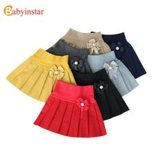 Hot New Fashion 2017 Cute Bow Child Skirt Kids Pleated Wool Blend Skirt Knit Toddlers Philabeg Children Baby Girls Tutu Skirts(China)