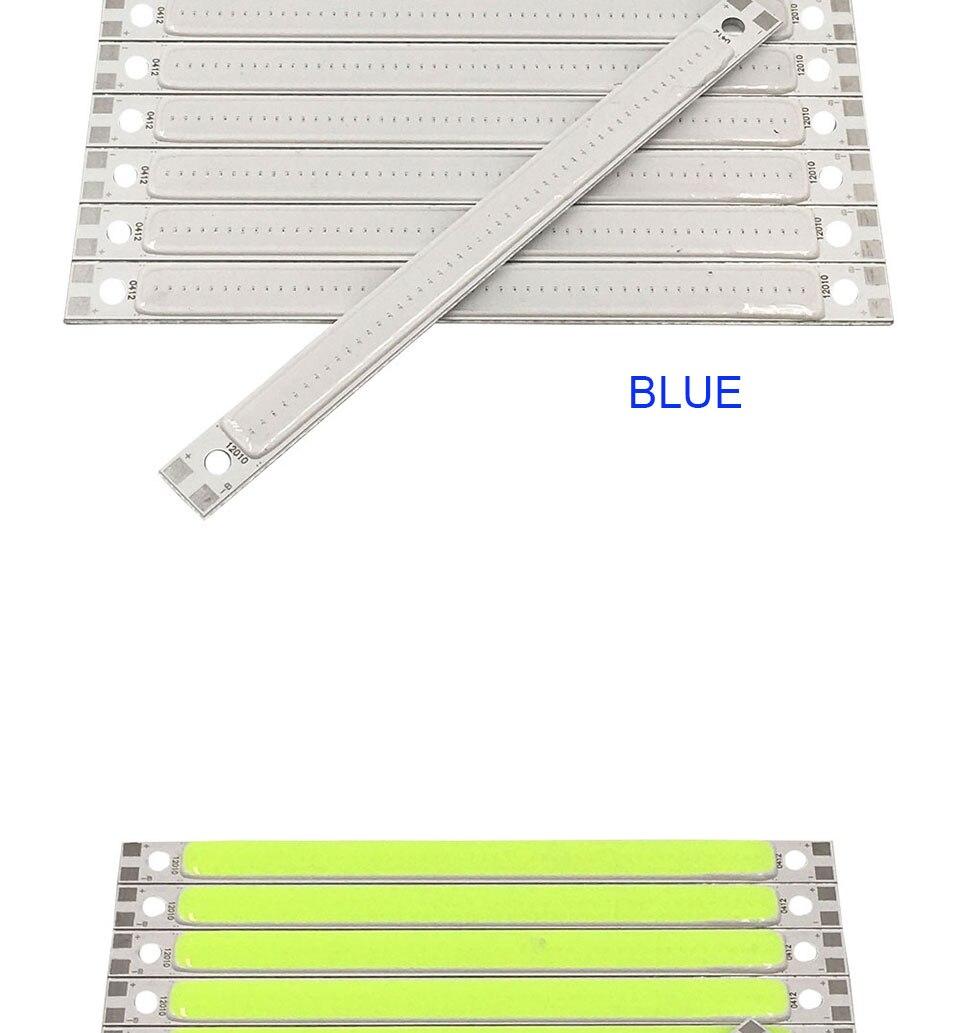 120mm 4.72in LED Bar Light Strip COB Bulb 12V 7W 10W LED Lamp Green Blue Red White Emitting Colors 12010mm COB Chip (9)