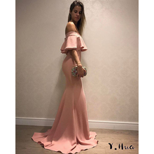 2019 New Pink Evening Dresses Party Off The Shoulder Sexy Package Hip Mermaid Prom Dress Long vestidos de fiesta de noche(China)
