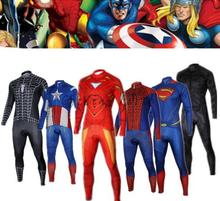 Captain America Superman Spiderman Iron Man 2014 long sleeve autumn bib cycling wear clothes bicycle jersey bib pants set(China)
