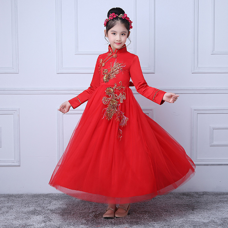 Children Kids Chinese Style Dresses 3 to 12Yrs Costume Birthday Outfits Dresses Girls Evening Party Formal Wear Girls Clothing<br>
