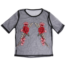 Embroidery Red Rose Floral Mesh Top Tees Summer 2017 T Shirt Women Tops Sexy Fashion T-Shirt Female Black Lace tshirt Femme