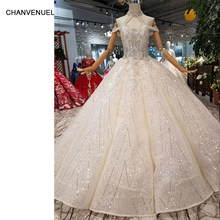 HTL049 swollen floor length wedding dresses with glitter halter style  special hot wedding gown 2019 International new design a32e2eeb2af3