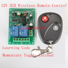 12V 2CH wireless remote control switch Receiver&Transmitter ON OFF Switch Learning code Toggle Momentary Latched 315/433MHZ