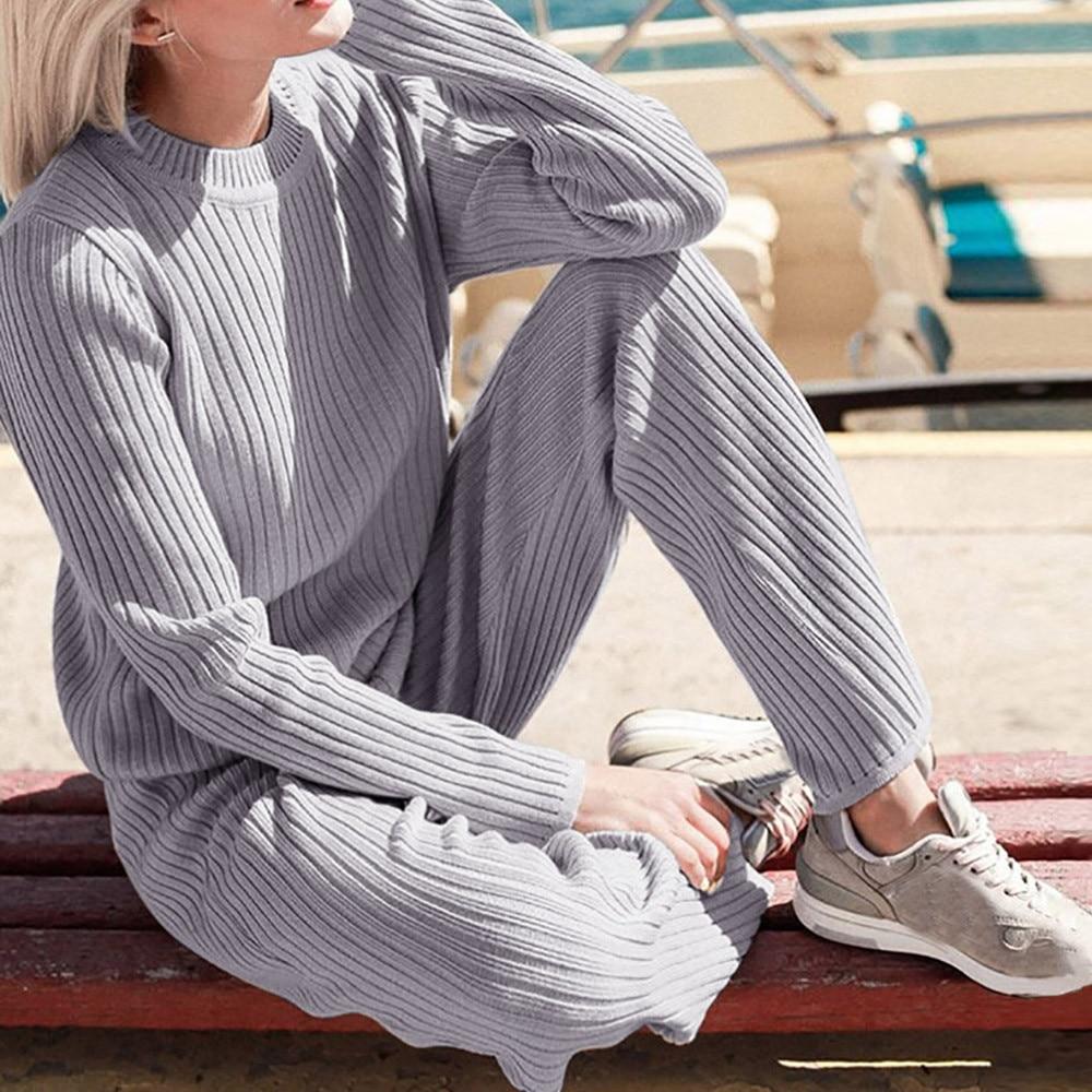 UK Women 2pcs Outfit Winter Loungewear Tracksuit Hoodie Sweatshirt Pant Clubwear