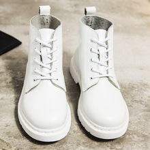 정품 가죽 Women 흰 ankle Boots Martin Boots 암 Autumn Winter Shoes Woman 펑크 Motorcycle Boots(China)